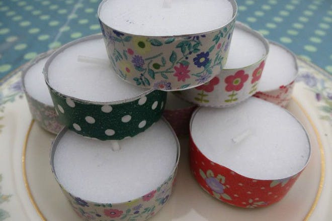 colourful washi tea light candles stacked