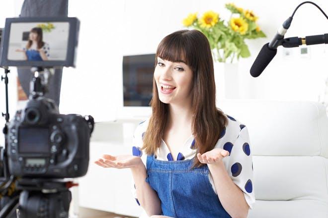 Woman vlogging