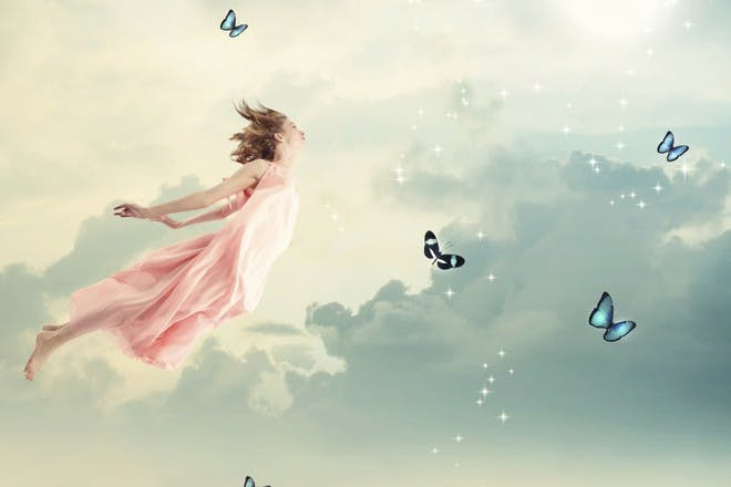 fairy in the sky with butterflies