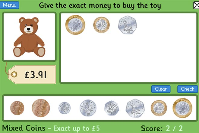 Screen from toy shop money game showing coins to pay for a teddy bear iwth