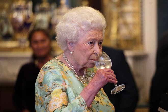 Queen Elizabeth drinking