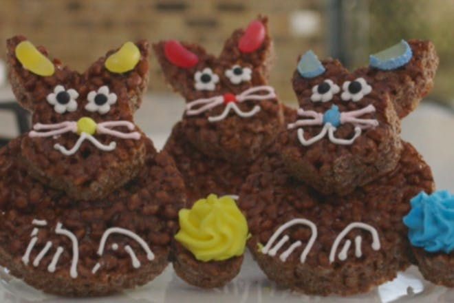 Easter chocolate krispie bunnies