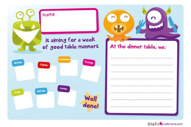 good table manners checklist simple