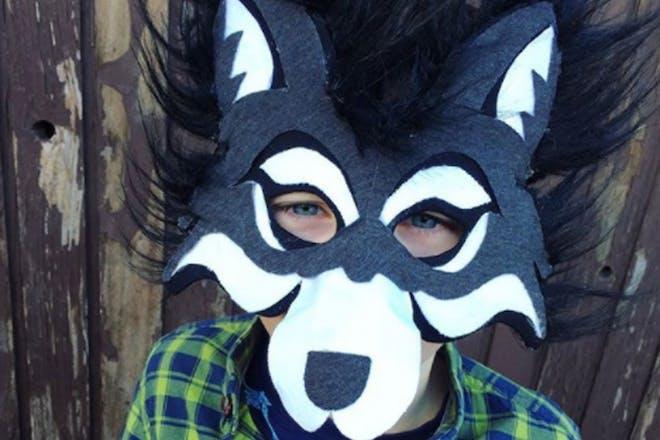 A boy dressed as a wolf