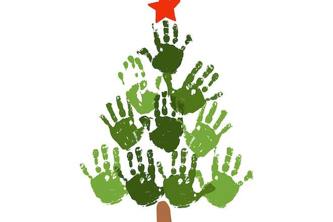 3. Christmas tree hand prints