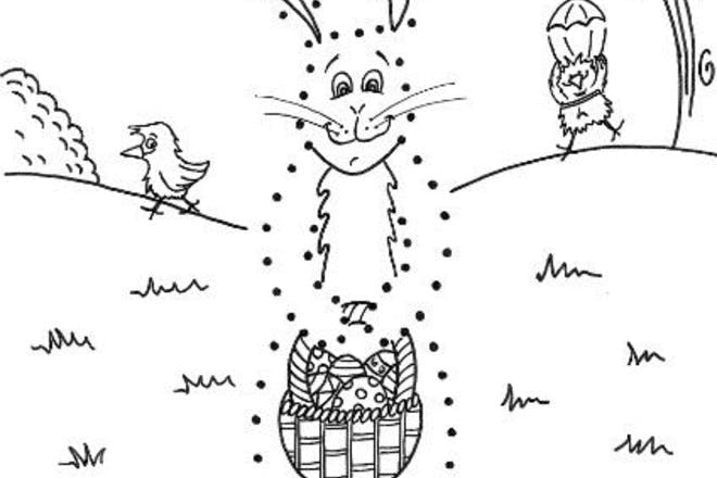 Easter bunny dot to dot Easter colouring picture