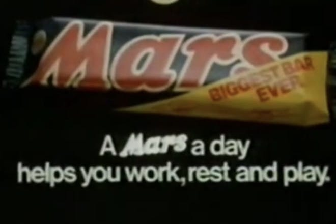 A Mars a day helps you work rest and play