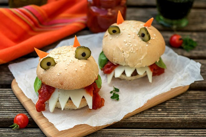 Monster burgers for Halloween party food