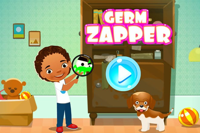 Germ zapper title page showing small boy looking at germs with a magnifying glass