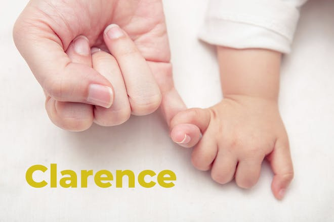 Mum's hand linking baby's finger. Name Clarence written in text