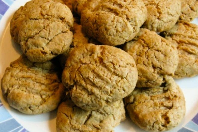 Plate of oaty biscuits