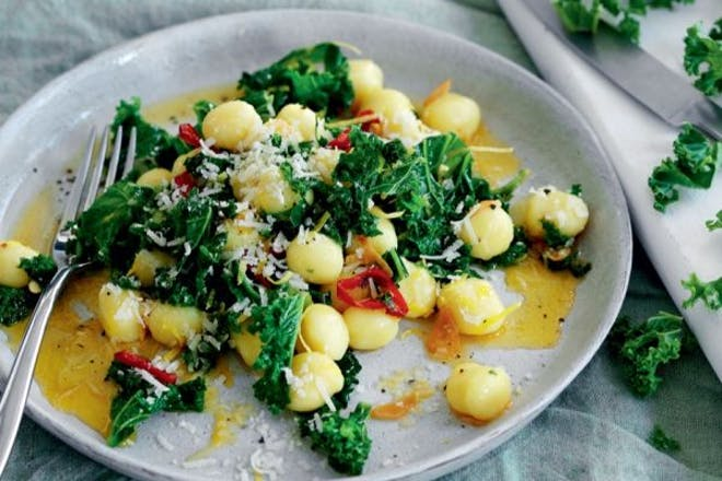 Gnocchi with kale, lemon and garlic