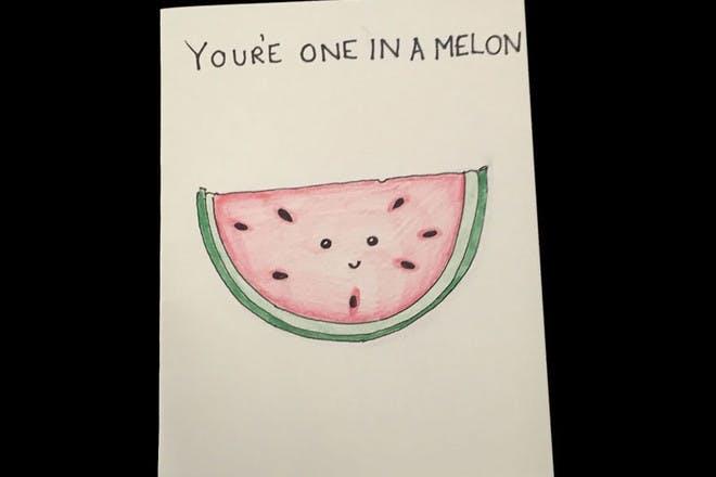 Watermelon Valentine's Day card