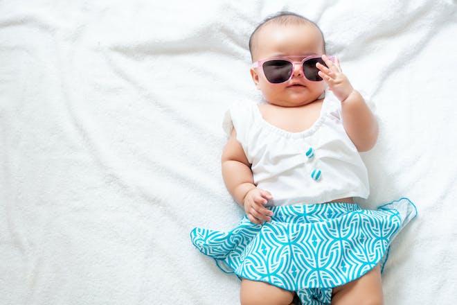 baby girl in sunglasses