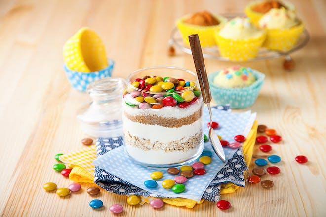 Ingredients to make cupcakes in a jar