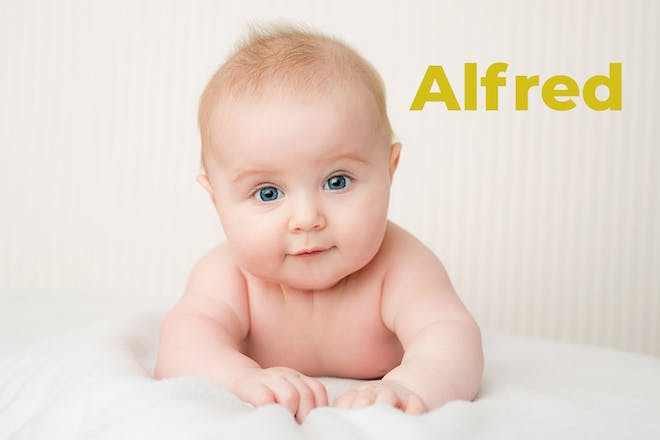 Baby with red hair. Name Alfred written in text
