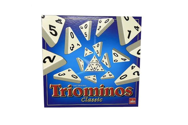 Triominos game box showing triangular dominos