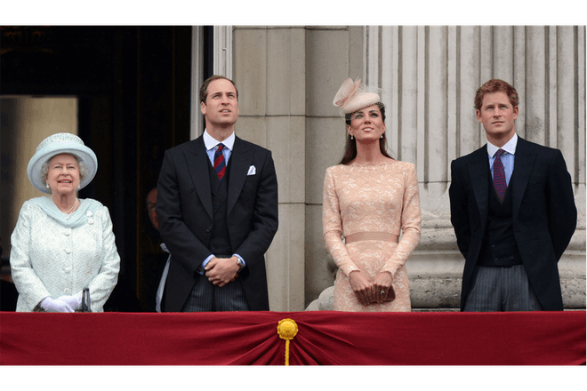 The Queen with William, Harry and Kate
