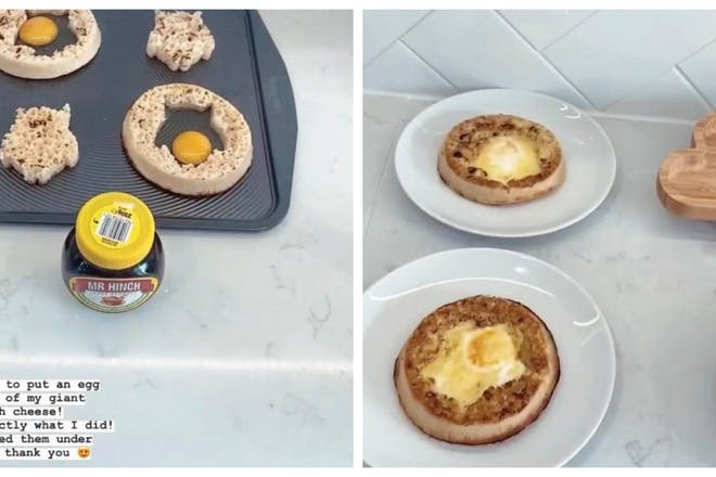 Crumpets with eggs cooked inside