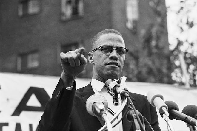 Black and white picture of Malcolm X