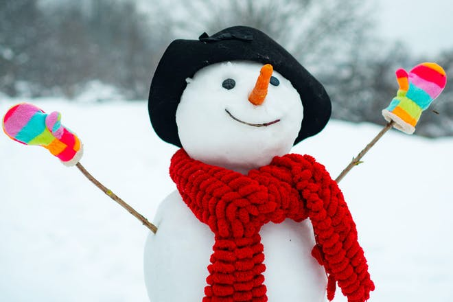 Snowman with a hat, scarf and gloves