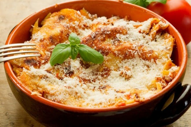 mexican lasagne in a bowl