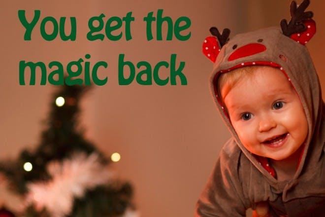 baby in reindeer onesie