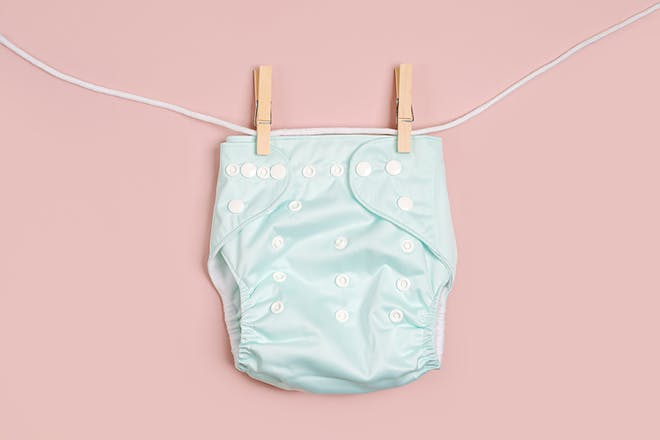 Reusable nappy on a washing line