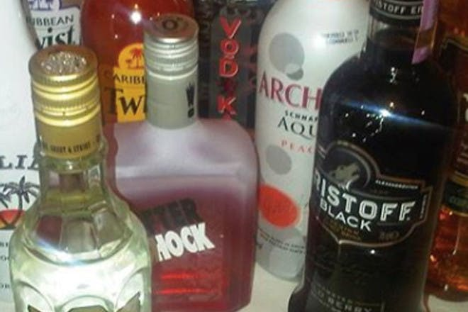 Aftershock and various other alcohol bottles
