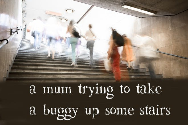 people going upstairs
