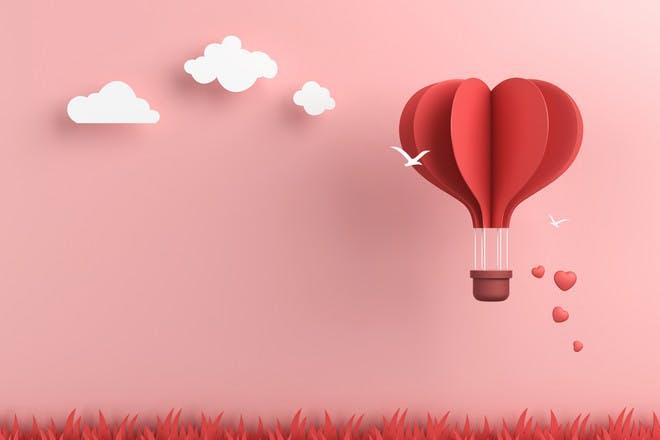 Hot air balloon made of hearts