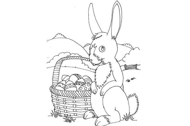 Easter bunny with basket Easter colouring picture