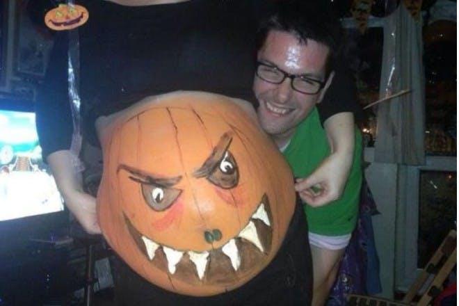 scary pumpkin belly