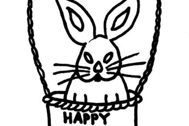 Easter bunny basket Easter colouring picture