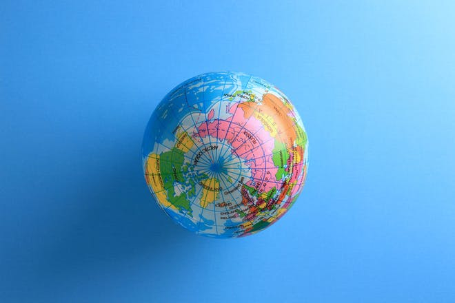 World globe on a blue background