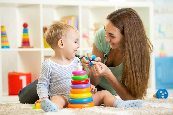 babysitter with little boy