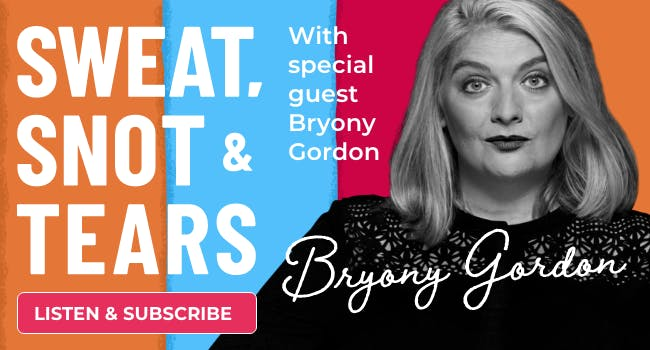 Bryony Gordon podcast footer promo image