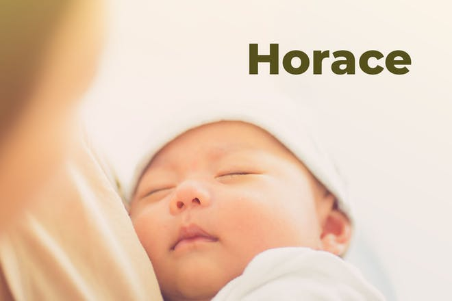 Baby sleeping in mother's arms. Name Horace written in text