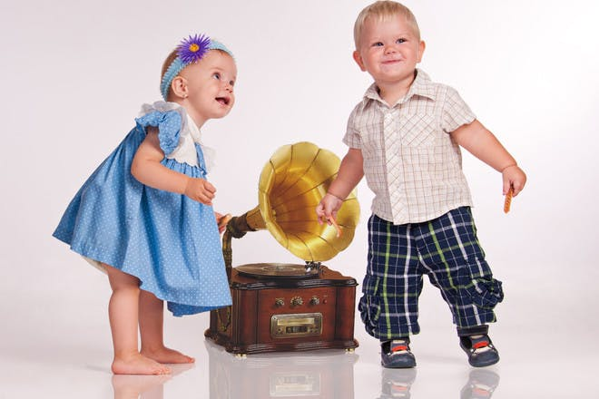 two babies with gramophone