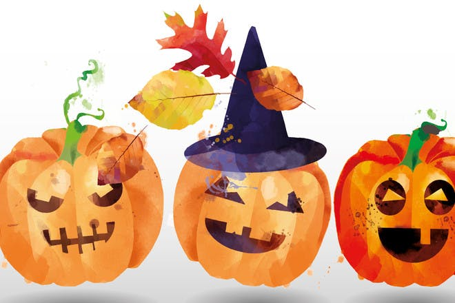 Halloween painting of pumpkins