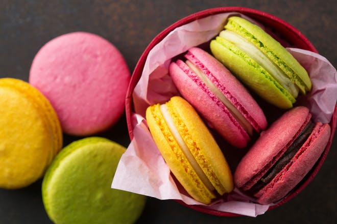 A pot of colourful macaroons