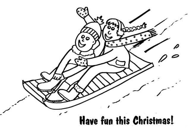 sledge christmas colouring