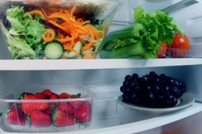fridge fill of fruit and vegetables