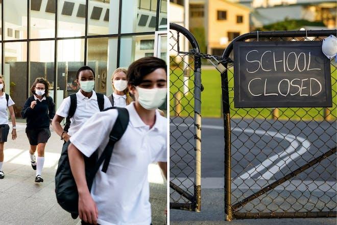 left: School childrenRight: School closed sign