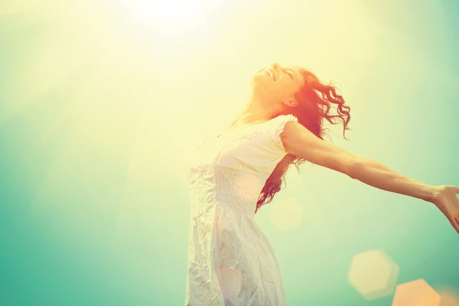 free happy woman sunlight