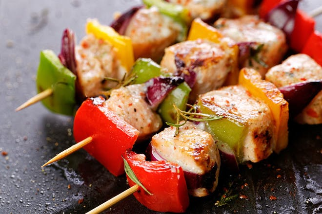 20. Fish or chicken on a skewer