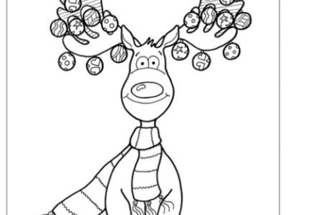 christmas reindeer colouring
