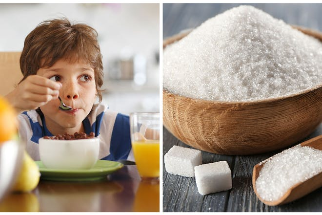 Left: Boy eating cereal. Right: Sugar