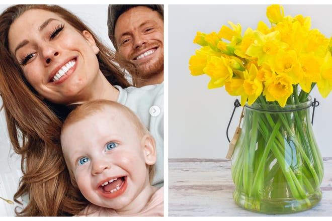 Stacey Solomon and family and vase of daffodils