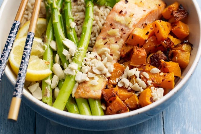 Salmon, asparagus and squash rice bowls
